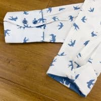 Grenouille Ladies Long Sleeve White and Blue Swallow Silhouette Print Shirt